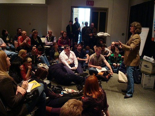 SXSWi travel blogging panel, Sheila Scarborough's presentation (courtesy BJMcCray at Flickr CC)