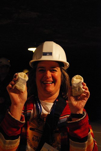 Welcome to the salt mines - Sheila Scarborough in the Kansas Underground Salt Museum in Hutchinson (photo courtesy BJMcCray at Flickr CC)