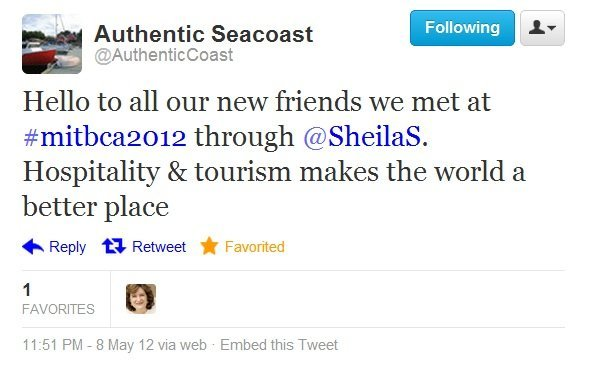 Screenshot of @AuthenticCoast tweet from Nova Scotia to the MITBCA 2012 conference in Malaysia