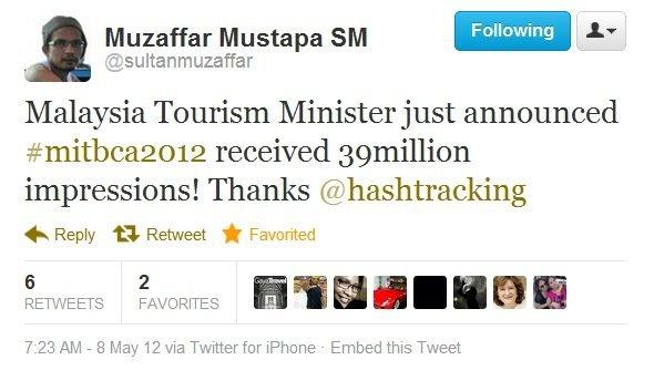 Screenshot of tweet about MITBCA 2012 hashtag impressions