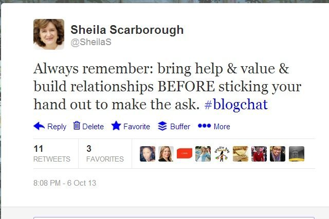 Blogger outreach advice from @SheilaS during #blogchat