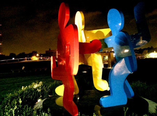 Teamwork! Keith Haring public art at Pappajohn Sculpture Park downtown Des Moines Iowa (photo by Sheila Scarborough)