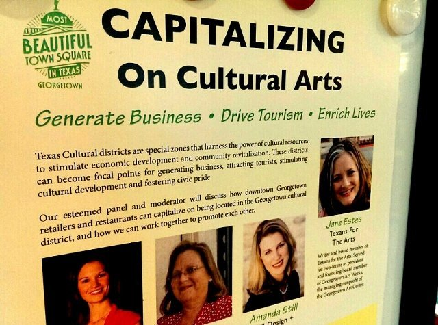 Poster for downtown cultural arts presentation by Georgetown TX Main Street (photo by Sheila Scarborough)