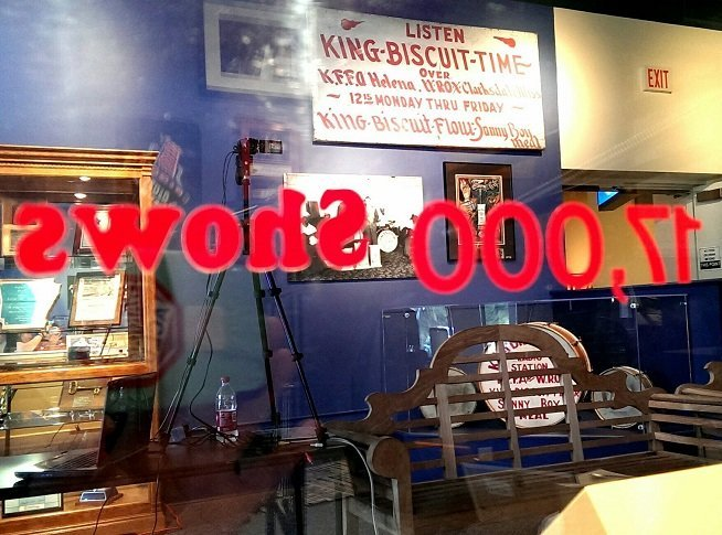 Section of King Biscuit Time booth, with over 17,000 shows broadcast from downtown Helena AR (photo by Sheila Scarborough)