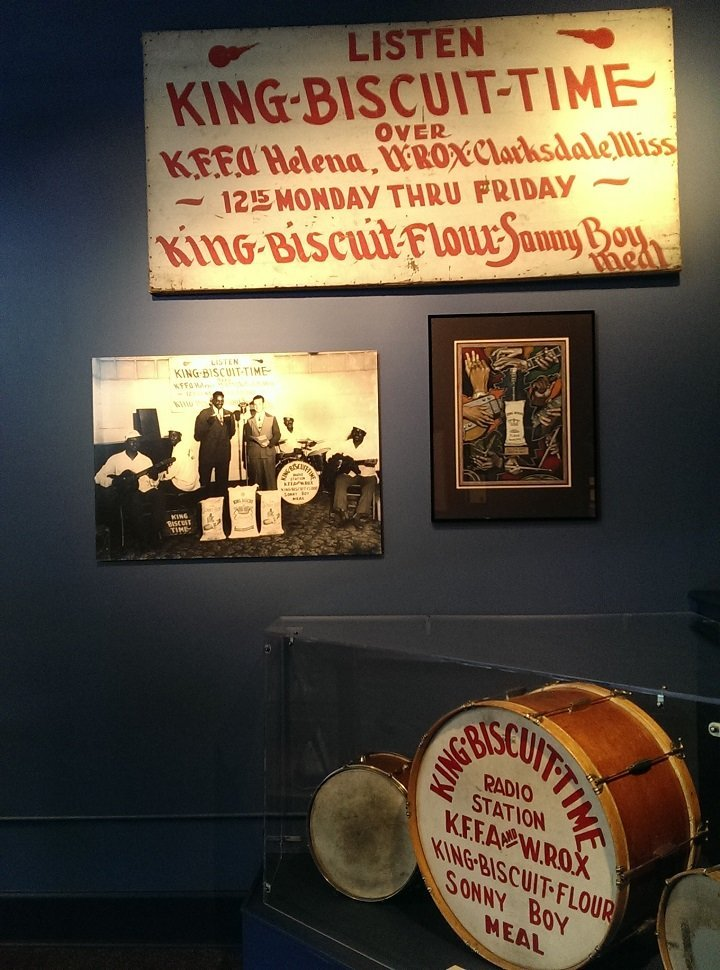 Display case of King Biscuit Time radio show artifacts in the Delta Cultural Center downtown Helena Arkansas (photo by Sheila Scarborough)