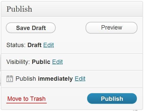 Publish box in WordPress blog software