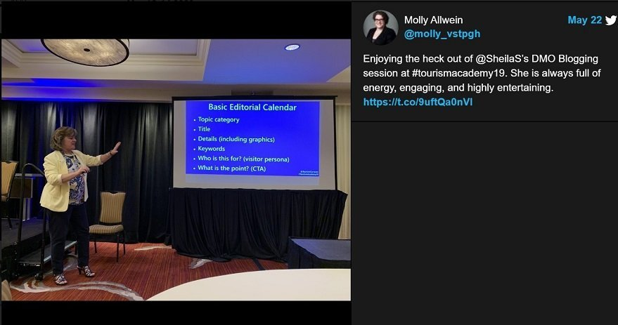 Sheila Scarborough speaker testimonial tweet from Tourism Academy Molly Allwein