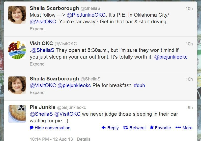 Screenshot of good example of OKC CVB partner and follower interaction on Twitte