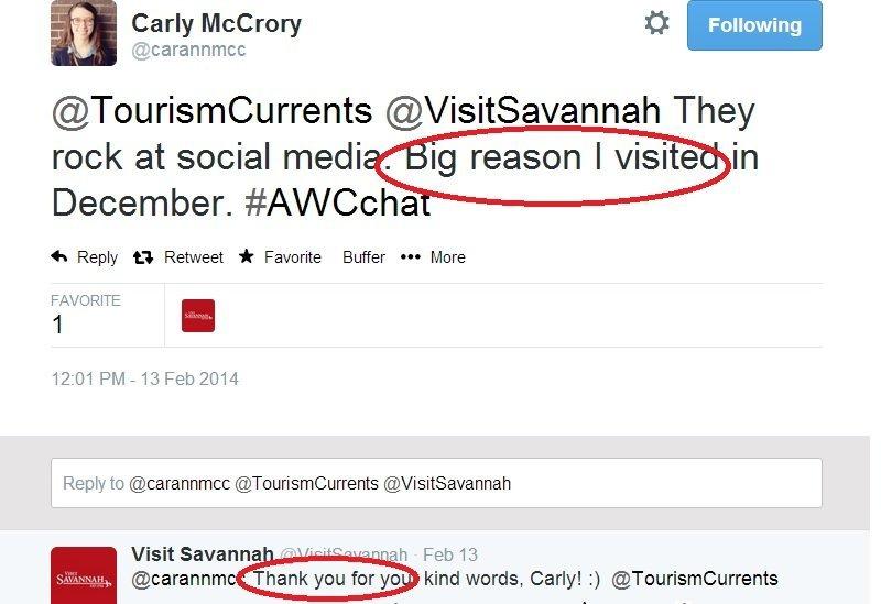 Social media appreciation on Twitter Carly McCrory and Visit Savannah