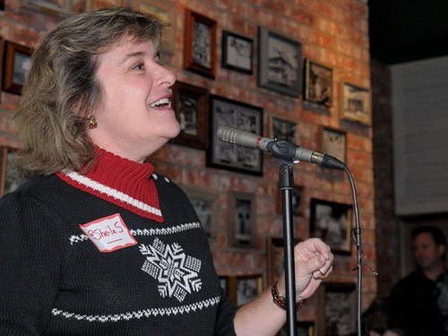 Sheila Scarborough speaks at Social Media Breakfast Austin (photo courtesy Callie Richmond)