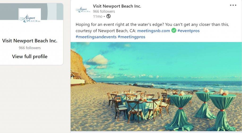 LinkedIn post by Visit Newport Beach CA with compelling meetings image on a beach